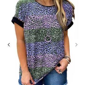 Purple Green Blue Leopard Print Patchwork T-Shirt